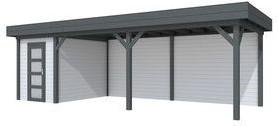 Blokhut Kiekendief met luifel 600, afm. 800 x 300 cm, plat dak, houtdikte 28 mm. - basis en deur antraciet, wand grijs gespoten