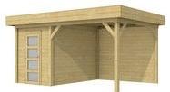 Blokhut Kiekendief met luifel 400, afm. 600 x 300 cm, plat dak, houtdikte 28 mm. - groen geïmpregneerd