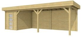 Blokhut Kiekendief met luifel 600, afm. 800 x 300 cm, plat dak, houtdikte 28 mm. - groen geïmpregneerd