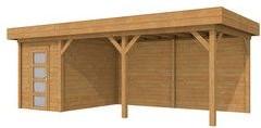 Blokhut Kiekendief met luifel 500, afm. 700 x 300 cm, plat dak, houtdikte 28 mm. - bruin geïmpregneerd