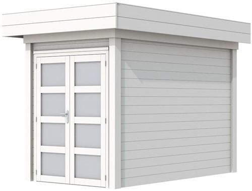 Blokhut Zwaluw, afm. 203 x 303 cm, houtdikte 28 mm, plat dak - volledig wit gespoten