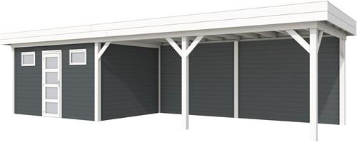 Blokhut Kievit met luifel 600, afm. 1000 x 300 cm, plat dak, houtdikte 28 mm. - basis en deur wit, wand antraciet gespoten
