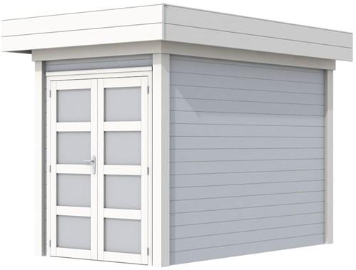 Blokhut Zwaluw, afm. 203 x 303 cm, houtdikte 28 mm, plat dak - basis en deur wit, wand grijs gespoten