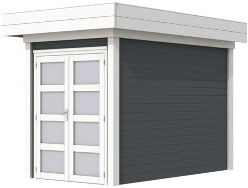 Blokhut Zwaluw, afm. 203 x 303 cm, houtdikte 28 mm, plat dak - basis en deur wit, wand antraciet gespoten