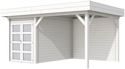 Blokhut Zwaluw met luifel 300, afm. 493 x 303 cm, plat dak,  houtdikte 28 mm. - volledig wit gespoten