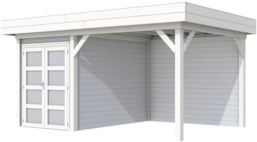 Blokhut Zwaluw met luifel 300, afm. 493 x 303 cm, plat dak,  houtdikte 28 mm. - basis en deur wit, wand grijs gespoten
