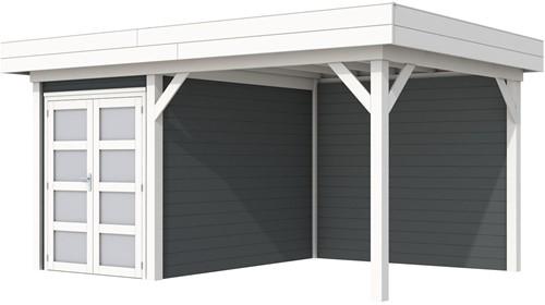 Blokhut Zwaluw met luifel 400, afm. 586 x 303 cm, plat dak, houtdikte 28 mm,  - basis en deur wit, wand antraciet gespoten