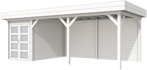 Blokhut Zwaluw met luifel 500, afm. 684 x 303 cm, plat dak, houtdikte 28 mm. - volledig wit gespoten