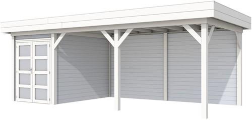 Blokhut Zwaluw met luifel 500, afm. 684 x 303 cm, plat dak, houtdikte 28 mm. - basis en deur wit, wand grijs gespoten