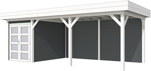 Blokhut Zwaluw met luifel 500, afm. 684 x 303 cm, plat dak, houtdikte 28 mm. - basis en deur wit, wand antraciet gespoten
