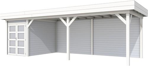 Blokhut Zwaluw met luifel 600, afm. 784 x 303 cm, plat dak, houtdikte 28 mm. - basis en deur wit, wand grijs gespoten