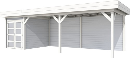 Blokhut Zwaluw met luifel 600, afm. 800 x 300 cm, plat dak, houtdikte 28 mm. - basis en deur wit, wand grijs gespoten
