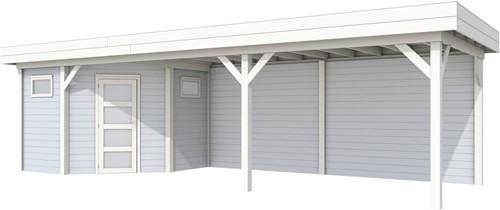 Hoekblokhut Houtduif met overkapping, afm. 887 x 303 cm, luifel 600 cm. - basis en deur wit, wand grijs gespoten