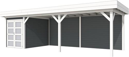 Blokhut Zwaluw met luifel 600, afm. 784 x 303 cm, plat dak, houtdikte 28 mm. - basis en deur wit, wand antraciet gespoten