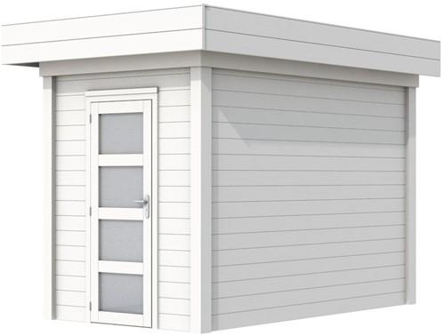 Blokhut Kiekendief, afm. 203 x 303 cm. plat dak, houtdikte 28 mm. - volledig wit gespoten