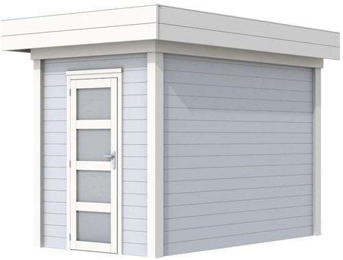 Blokhut Kiekendief, afm. 203 x 303 cm. plat dak, houtdikte 28 mm. - basis en deur wit, wand grijs gespoten