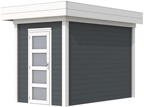 Blokhut Kiekendief, afm. 203 x 303 cm. plat dak, houtdikte 28 mm. - basis en deur wit, wand antraciet gespoten