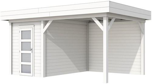 Blokhut Kiekendief met luifel 400, afm. 586 x 303 cm, plat dak, houtdikte 28 mm. - volledig wit gespoten