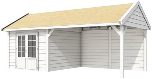 Blokhut Poolvos met luifel 400, afm. 700 x 300 cm, zadeldak, houtdikte 28 mm. - volledig wit gespoten