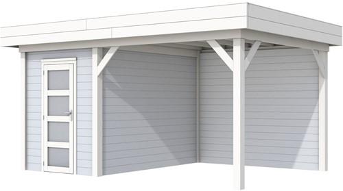 Blokhut Kiekendief met luifel 400, afm. 586 x 303 cm, plat dak, houtdikte 28 mm. - basis en deur wit, wand grijs gespoten