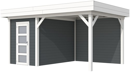 Blokhut Kiekendief met luifel 300, afm. 493 x 303 cm, plat dak, houtdikte 28 mm. - basis en deur wit, wand antraciet gespoten
