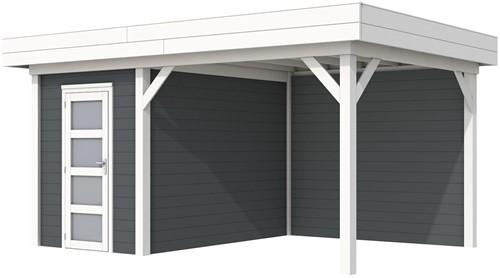 Blokhut Kiekendief met luifel 400, afm. 586 x 303 cm, plat dak, houtdikte 28 mm. - basis en deur wit, wand antraciet gespoten