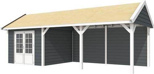 Blokhut Poolvos met luifel 500, afm. 787 x 303 cm, zadeldak, houtdikte 28 mm. - basis en deur wit, wand antraciet gespoten