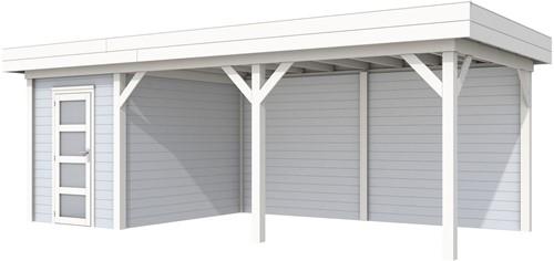 Blokhut Kiekendief met luifel 500, afm. 684 x 303 cm, plat dak, houtdikte 28 mm. - basis en deur wit, wand grijs gespoten