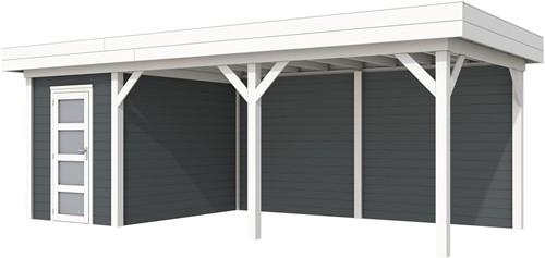 Blokhut Kiekendief met luifel 500, afm. 684 x 303 cm, plat dak, houtdikte 28 mm. - basis en deur wit, wand antraciet gespoten