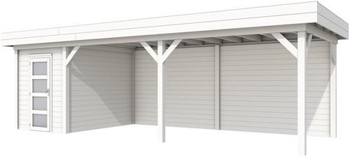 Blokhut Kiekendief met luifel 600, afm. 784 x 303 cm, plat dak, houtdikte 28 mm. - volledig wit gespoten