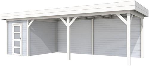 Blokhut Kiekendief met luifel 600, afm. 784 x 303 cm, plat dak, houtdikte 28 mm. - basis en deur wit, wand grijs gespoten