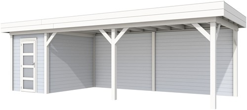 Blokhut Kiekendief met luifel 600, afm. 800 x 300 cm, plat dak, houtdikte 28 mm. - basis en deur wit, wand grijs gespoten