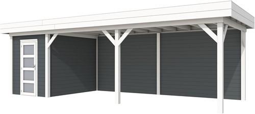 Blokhut Kiekendief met luifel 600, afm. 784 x 303 cm, plat dak, houtdikte 28 mm. - basis en deur wit, wand antraciet gespoten
