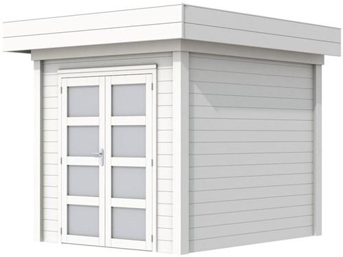 Blokhut Kolibri, afm. 250 x 250 cm, plat dak, houtdikte 28 mm. - volledig wit gespoten