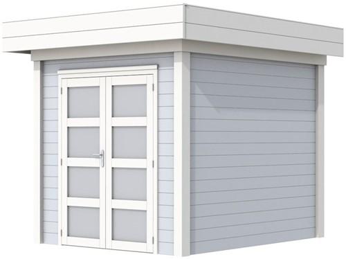 Blokhut Kolibri, afm. 250 x 250 cm, plat dak, houtdikte 28 mm. - basis en deur wit, wand grijs gespoten