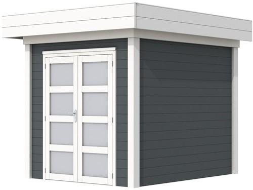 Blokhut Kolibri, afm. 250 x 250 cm, plat dak, houtdikte 28 mm. - basis en deur wit, wand antraciet gespoten