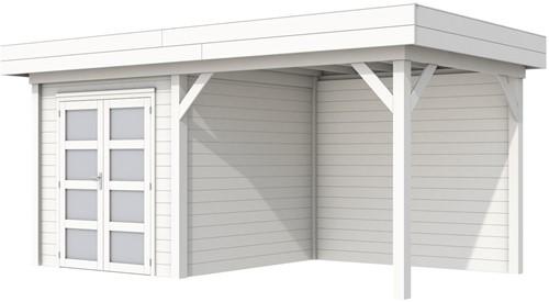 Blokhut Kolibri met luifel 400, afm. 650 x 250 cm, plat dak, houtdikte 28 mm. - volledig wit gespoten