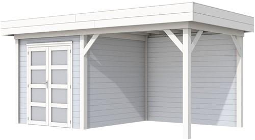Blokhut Kolibri met luifel 300, afm. 543 x 253 cm, plat dak, houtdikte 28 mm. - basis en deur wit, wand grijs gespoten