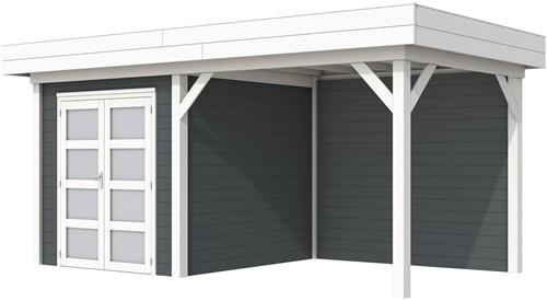 Blokhut Kolibri met luifel 400, afm. 650 x 250 cm, plat dak, houtdikte 28 mm. - basis en deur wit, wand antraciet gespoten