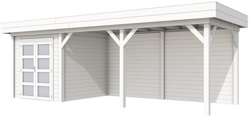 Blokhut Kolibri met luifel 500, afm. 734 x 253 cm, plat dak, houtdikte 28 mm. - volledig wit gespoten