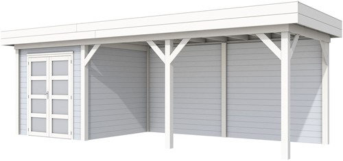 Blokhut Kolibri met luifel 500, afm. 734 x 253 cm, plat dak, houtdikte 28 mm. - basis en deur wit, wand grijs gespoten