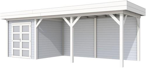 Blokhut Kolibri met luifel 500, afm. 750 x 250 cm, plat dak, houtdikte 28 mm. - basis en deur wit, wand grijs gespoten