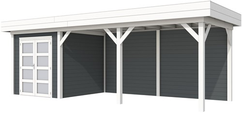Blokhut Kolibri met luifel 500, afm. 734 x 253 cm, plat dak, houtdikte 28 mm. - basis en deur wit, wand antraciet gespoten