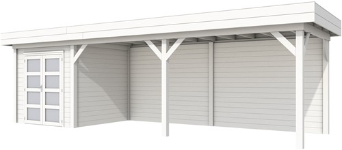 Blokhut Kolibri met luifel 600, afm. 834 x 253 cm, plat dak, houtdikte 28 mm. - volledig wit gespoten