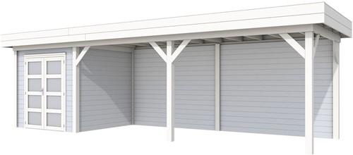 Blokhut Kolibri met luifel 600, afm. 834 x 253 cm, plat dak, houtdikte 28 mm. - basis en deur wit, wand grijs gespoten