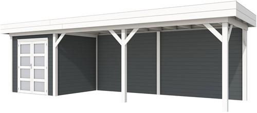 Blokhut Kolibri met luifel 600, afm. 834 x 253 cm, plat dak, houtdikte 28 mm. - basis en deur wit, wand antraciet gespoten