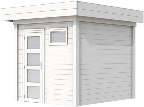 Blokhut Kuifmees, afm. 253 x 253 cm, plat dak, houtdikte 28 mm - volledig wit gespoten