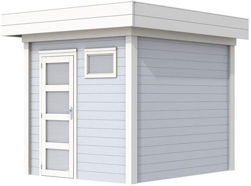 Blokhut Kuifmees, afm. 253 x 253 cm, plat dak, houtdikte 28 mm - basis en deur wit, wand grijs gespoten