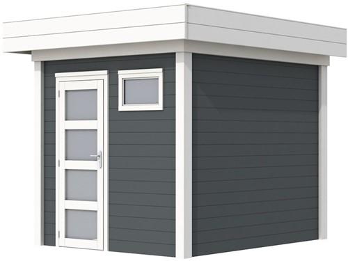 Blokhut Kuifmees, afm. 253 x 253 cm, plat dak, houtdikte 28 mm - basis en deur wit, wand antraciet gespoten