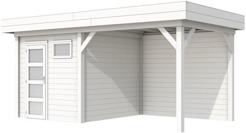Blokhut Kuifmees met luifel 400, afm. 636 x 253 cm, plat dak, houtdikte 28 mm. - volledig wit gespoten